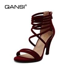 QANSI Summer Women Sandals Big size34-43Sandals Open Toe Flip Flops Ladies Sandals Thick Heel Women Shoes