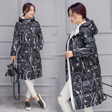 New 2016 Long Winter Jacket Women Wadded Female Hooded Thick Abstract printing Down Coat Women Parkas Plus Size