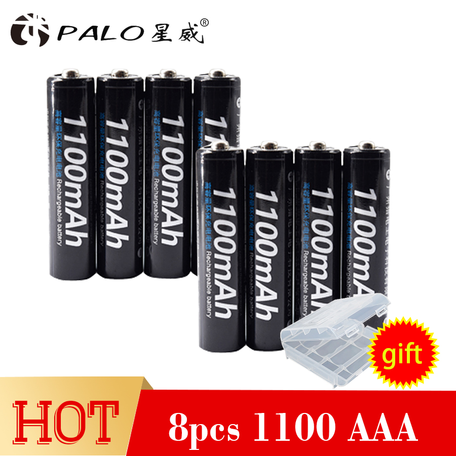 8pcs Rechargeable Battery Cell Set batteries AAA 1100mAh 1.2V PALO NI-MH 3A AAA Battery Baterias Bateria For LED light toy mp3