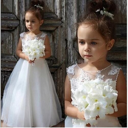 New White/Ivory Lace Flower Girl Dresses Sleeveless O-neck Formal A-Line Communion Gowns for Junior Weddings Vestidos pixhawk px4 32 bit open source autopilot flight controller v2 4 8 with safety switch buzzer
