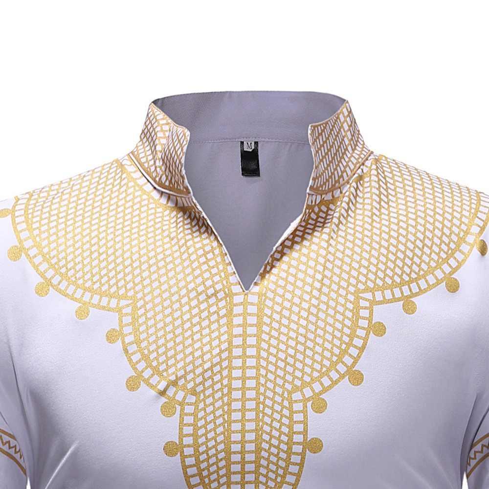 アフリカ Dashiki プリントドレスシャツの男性 2018 クラシック V ネック長袖アフリカ服ヒップホップストリートシャツ男性シュミーズオム