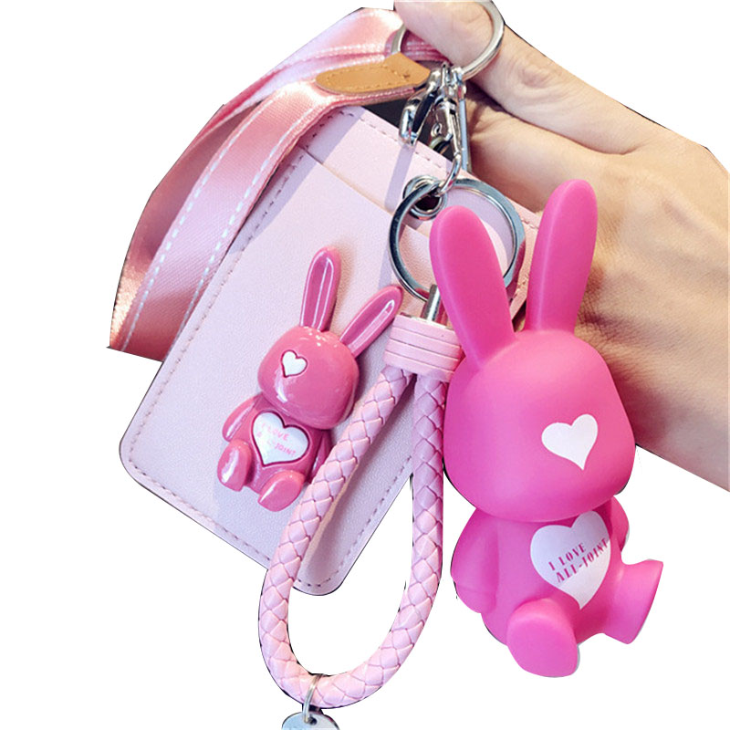 HNXZXB Name Credit Card Holders Women Men PU Bank Card Neck Strap Card Bus ID holders rabbit Identity cartoon badge with lanyar ...
