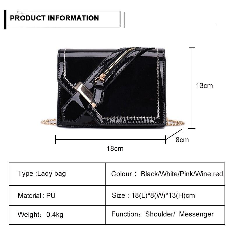 Donne Flap Crossbody Nero Bolsa colore Il Rosa Patent Bag Catena Sac Di Solid Borsa Femminile Piccola Elegante Signore borgogna bianco Leather Tracolla Cuoio Nuove Modo Delle A AwnqPO5