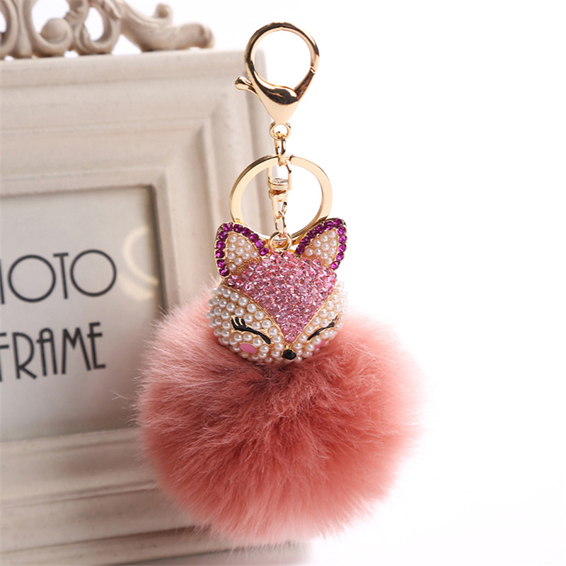 2017 New Artificial Rabbit Fur Ball Keychain Rhinestone Crystal Fox Head Pompon Trinket Key Chain Handbag Fluffy Key Ring Holder 11