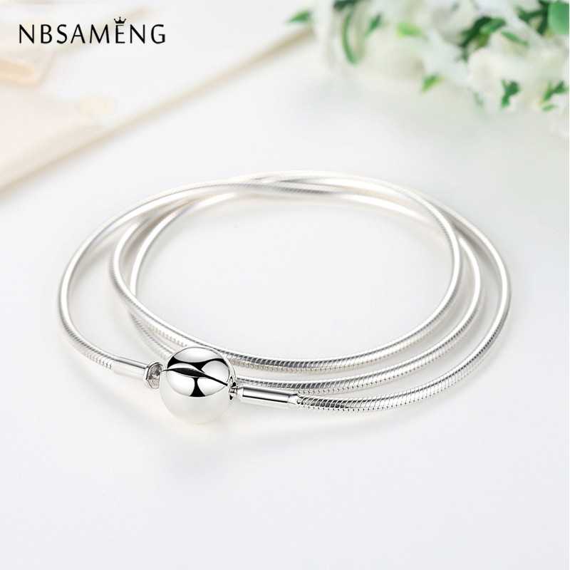 New Authentic 100% 925 Sterling Silver Charm Necklace Moments DIY Snake Chain Necklaces Fit Pan Beads Vintage Women Jewelry dorapang 100% 925 sterling silver snake chain necklace fit charm beads for women fashion jewelry diy bracelet factory wholesale