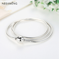 New Authentic 100% 925 Sterling Silver Charm Necklace Moments DIY Snake Chain Necklaces Fit Pan Beads Vintage Women Jewelry