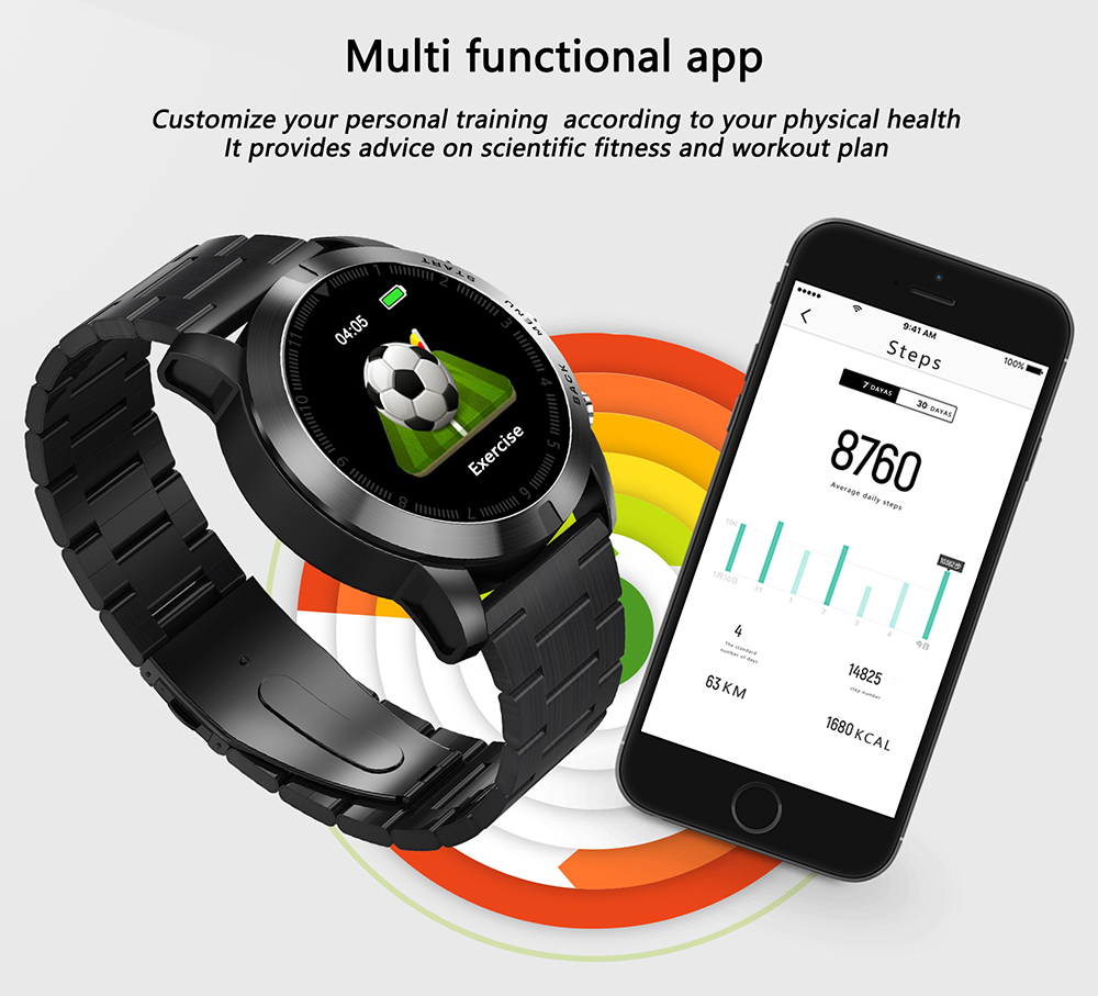 S10 Men Smart Watch Ip68 Waterproof Watch Bluetooth 4.2 Wristwatch Heart Rate Monitoring Compass Sport Bracelet For Android Ios Digital Watches Men's Watches