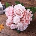 Dalias artificial flores rosas ramo de la boda de flores de seda otoño vivid fake hoja flor de la boda ramos de novia decoración