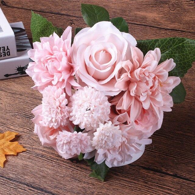 aliexpress: acheter fleur en soie de mariage bouquet roses