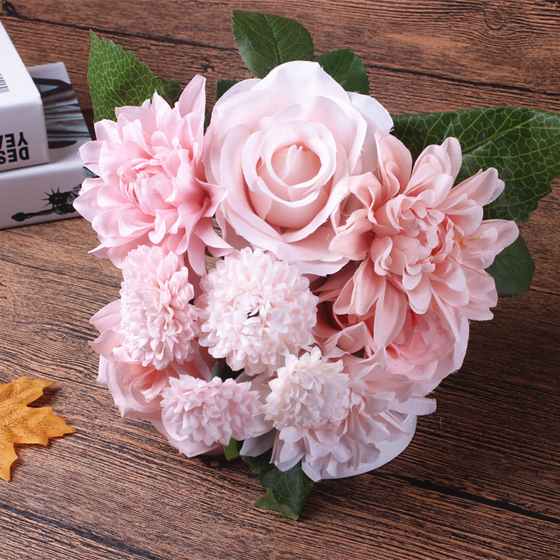 Silk Flower Wedding Bouquet Roses Dahlias Artificial