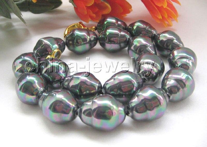 Collier de perles de forme baroque noir brillant de P4684-18
