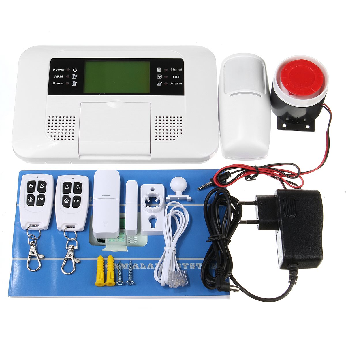 Wireless GSM and PSTN SMS Home House Alarm System Security Auto Dialer SOS Siren  Home Security wireless sms alarm system 433mhz standard home security sopport gsm sms wireless outdoor siren