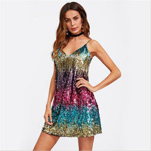 2019 Women Dress new Colorful Sequin Party Club Women Sexy A Line Mini Summer Cami Dresses Fashion Sleeveless V Neck Hot Dress(China)