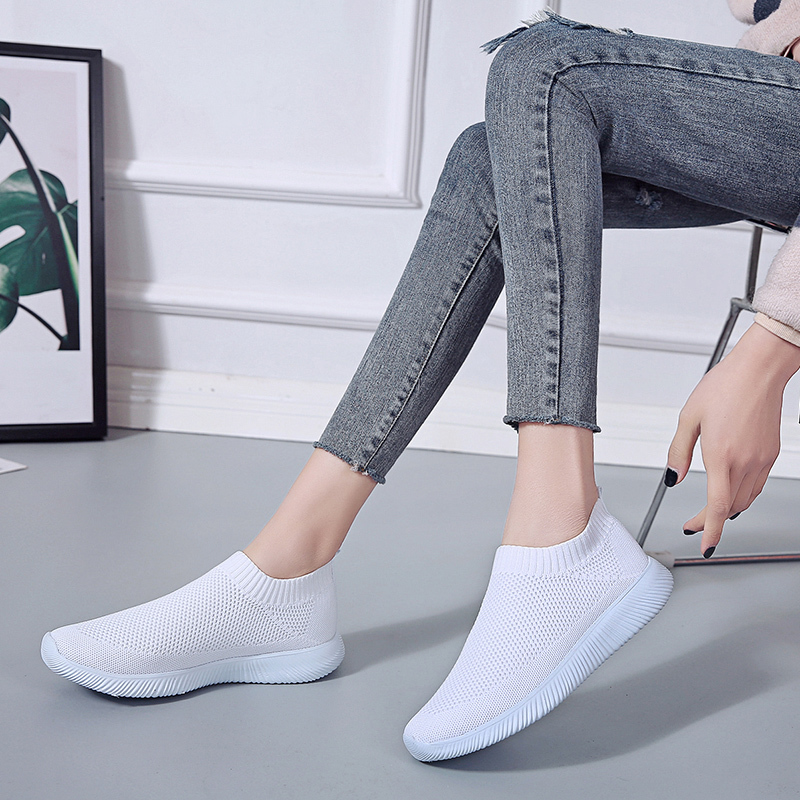 HTB17ngNaizxK1Rjy1zkq6yHrVXax Rimocy plus size breathable air mesh sneakers women 2019 spring summer slip on platform knitting flats soft walking shoes woman