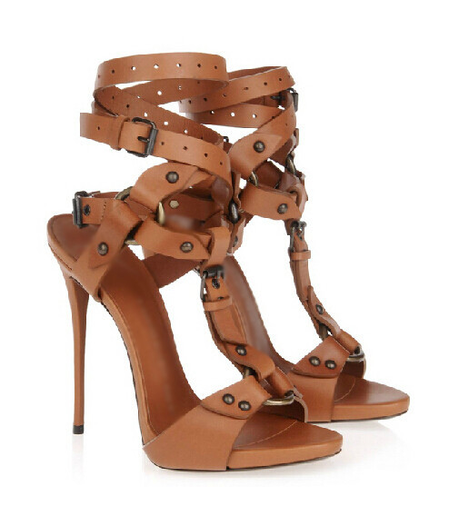 ФОТО Modern Style Fashion Brown And Black Exquisite Cross Buckles Design Studed Decorated Punk Style Peep Toe High-Heel Free Ship