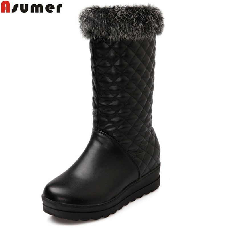 ASUMER new women boots fashion solid color ladies boots black white mid calf boots comfortable Keep warm inside snow boots asumer fashion new women boots round toe zipper ladies genuine leather boots square heel keep warm cow leather mid calf boots