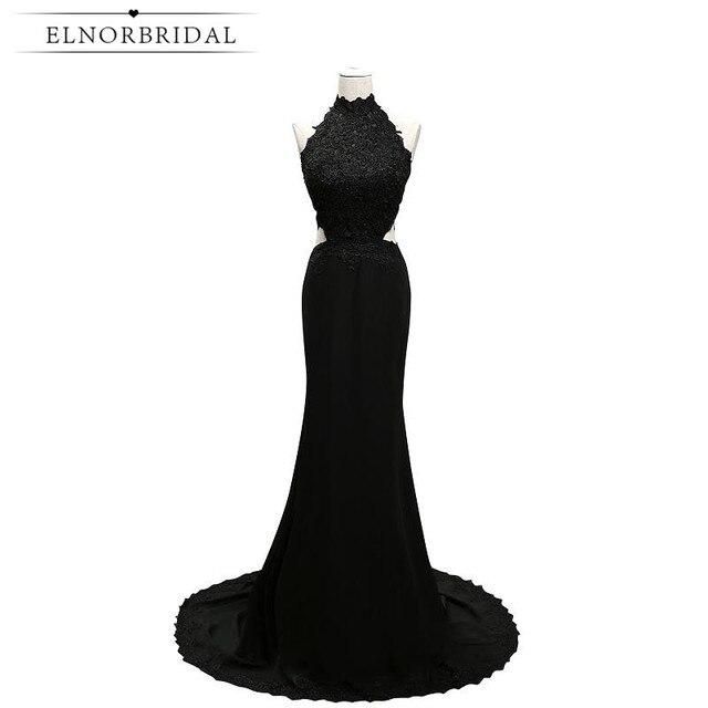 Elnorbridal Real Photo Black Mermaid Evening Dresses 2017 Arabic Avondjurk Robe De Soiree Formal African Prom Dress