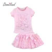 2018 New Summer Fashion Brand DomeilLand Children Clothing Sets 2pcs Cute Girl Cotton Bear T
