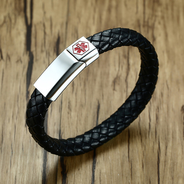 Men Braided Leather Medical Alert ID Bracelet with Stainless Steel Magnetic Clasp Black Male Wristband Jewelry