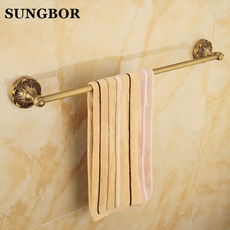 European Antique Brass Luxury 60cm Single Rod Towel Bars Towel Rack Wall Mounted Bathroom Towel Shelf Bathroom Accessories aluminum wall mounted square antique brass bath towel rack active bathroom towel holder double towel shelf bathroom accessories