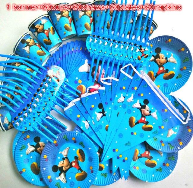 81 piezas 20 personas Feliz cumpleaños niños Mickey mouse baby shower fiesta decoración conjunto banner mantel pajitas tazas platos proveedor