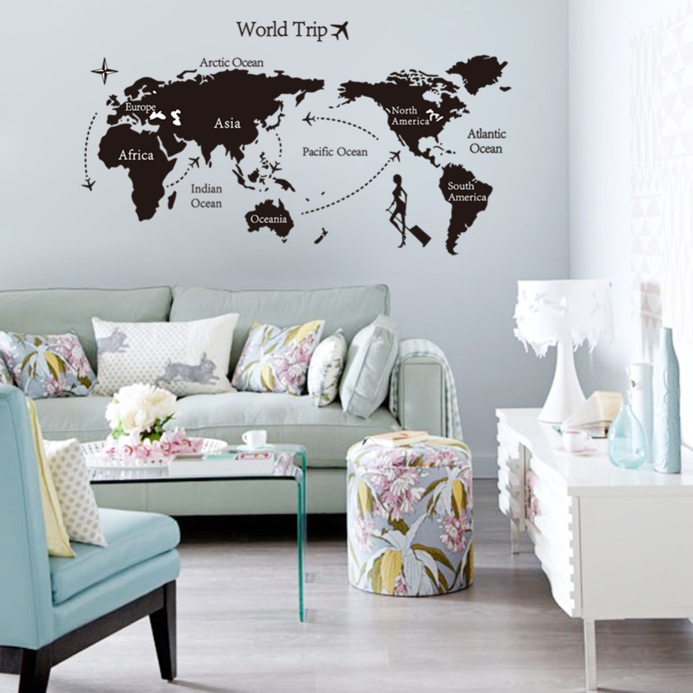 world map travel wall sticker bedroom mural house quarto wall decals home decoration poster home decor - Travel Home Decor