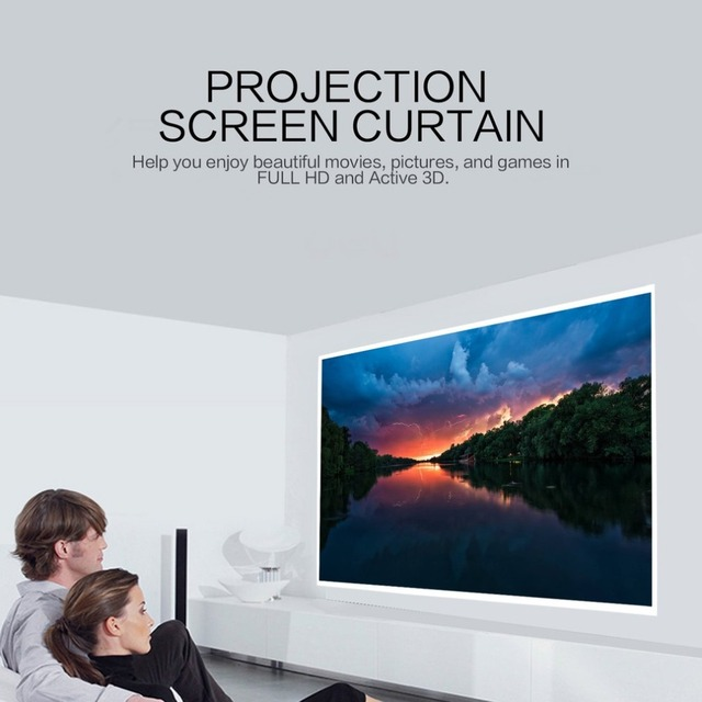 60 Inch Projection Screen Curtain Non-Woven Fabric White Soft Portable for KTV Ba Conference Room Home Theater