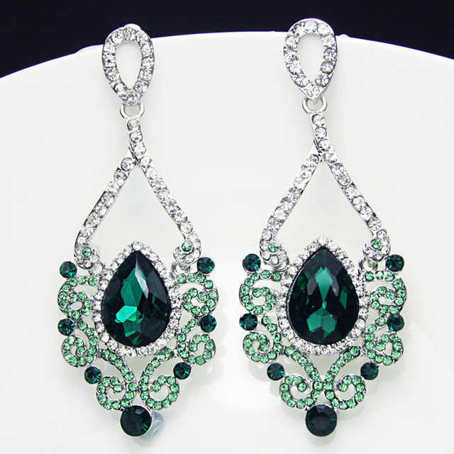 Luxury crystal green earrings for women tear drop chandelier luxury crystal green earrings for women tear drop chandelier earrings drops big statement wedding jewelry dresses mozeypictures Choice Image