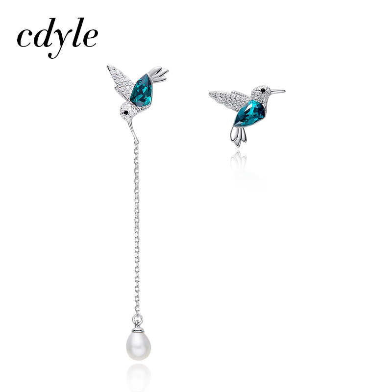 Cdyle 925 Sterling Silver Bird Earrings Embellished with Crystal Stud Earrings for Women Piercing Oreja