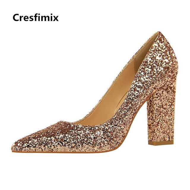 3d289cab59 Cresfimix Women Sexy Party Night Club Golden Shinning High Heel Pumps Lady  Casual Square High Heel