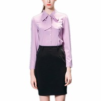 Job Interviews Suits Office Lady Professional Autumn Winter Women S Set Solid Purple Bow Shirts Black