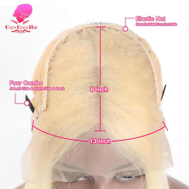Królowa 13x6 613 blond brazylijski proste włosy ludzkie Bob peruki 8-16 Cal Remy krótki Ombre Bob koronki przodu peruki dla czarnych kobiet
