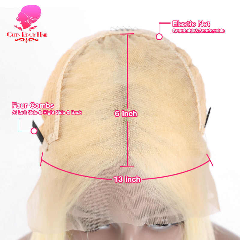 Kraliçe 13x6 613 sarışın brezilyalı düz insan saçı Bob peruk 8 - 16 inç Remy kısa Ombre Bob dantel ön peruk siyah kadınlar için