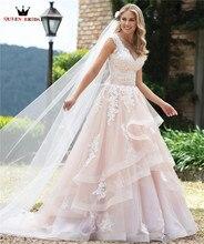 Custom Made Ball Gown Detachable Skirt Lace Beading Luxury Elegant Formal Pink Wedding Dresses Vestido de Noiva 2020 WH45
