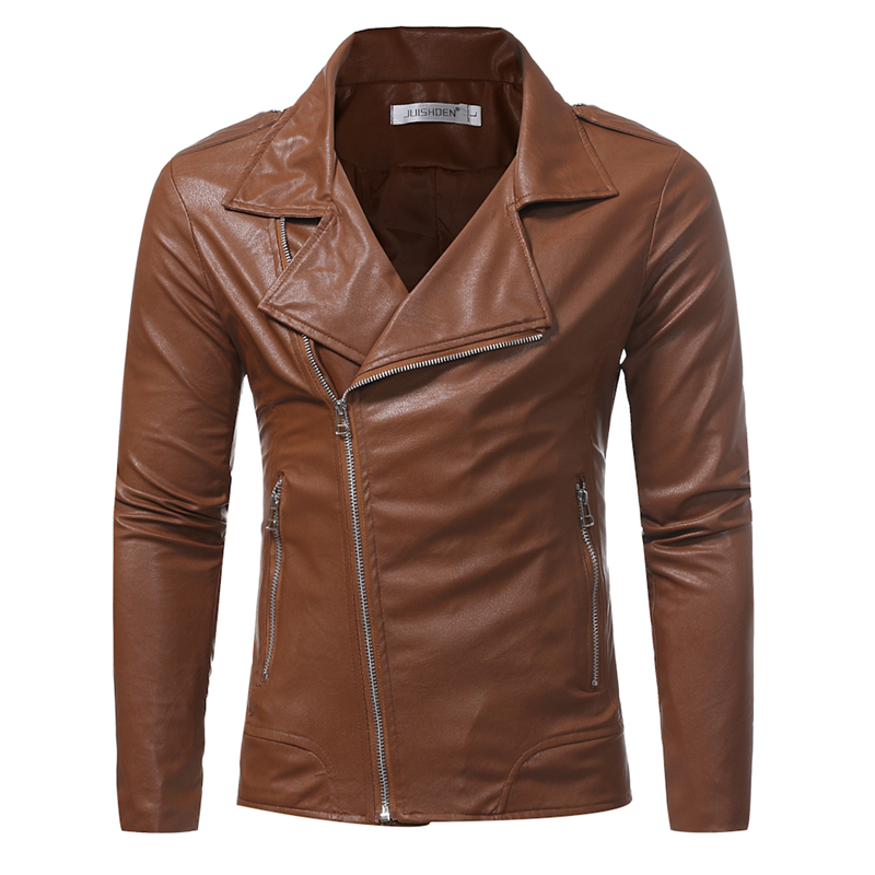 PU leather jacket mens fashion diagonal zipper casual  multi-zip slinking motorcycle