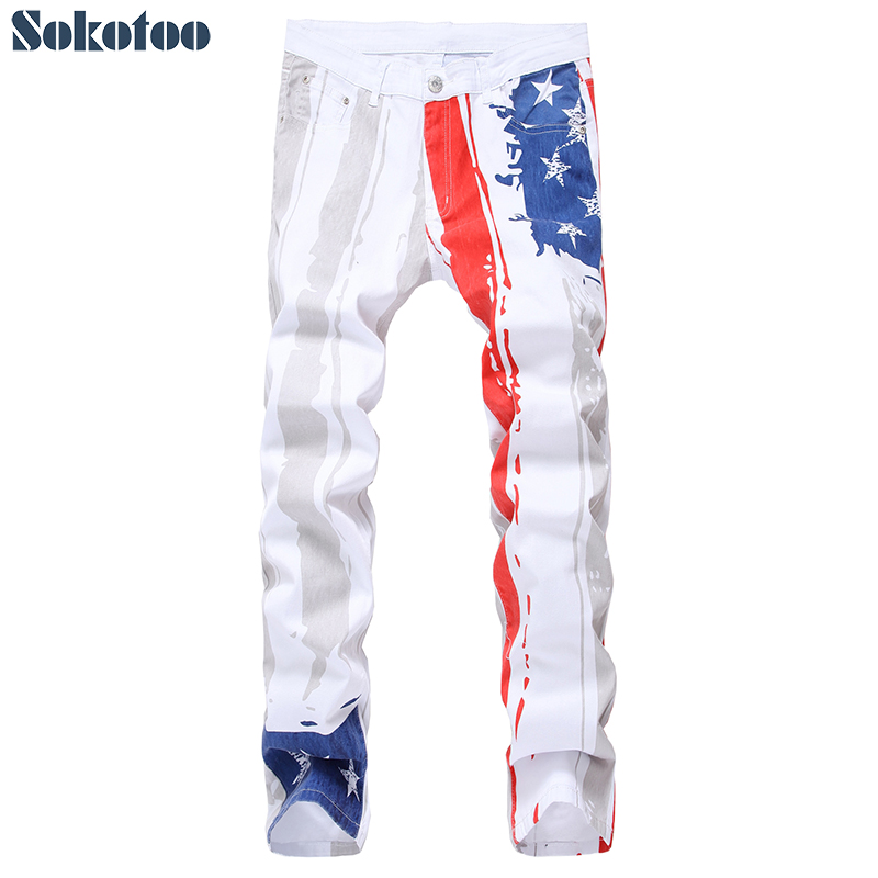 Men's American Flag Stripe And Stars Printed Jeans White Lightweight Denim Colored Painted Pants