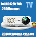 Full HD Native1280 * 800 brillo 2500 lumens portable video digital en 3D de cine en casa Proyector con 2 * HDMI 1 * USB TV