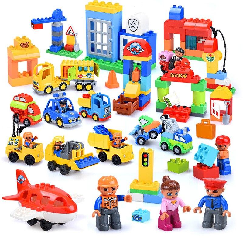 13-109pcs Large particles City Transport Team Car Model Series Building Block Bricks Compatible Duploe Toys for children Kids GIft (19)