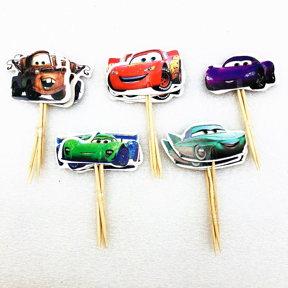 24pcs Lightning Mcqueen Cake Dessert Prod With Picture Cake Decoration Card Cupcake Picks Kid Birthday Party Decoration in Cake Decorating Supplies from Home Garden