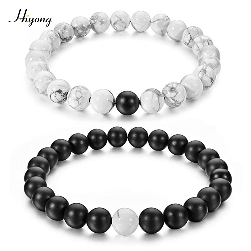 HIYONG 2Pcs/Set Couples Distance Bracelets Black Matte & White Howlite 8mm Beads Bracelet Natural Stone for Lovers Gifts Jewelry