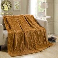 Medusa Polar Fleece Sudoku Warm Throw Blanket Bedspread Purple Red Blue Camel