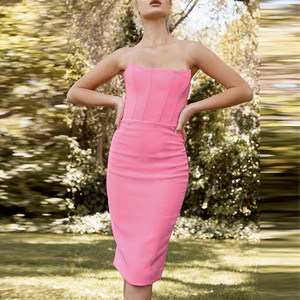 Image 2 - Ocstrade Womens 여름 붕대 옷 새 도착 2019 Strapless 핑크 붕대 드레스 Bodycon 섹시한 나이트 클럽 파티 드레스