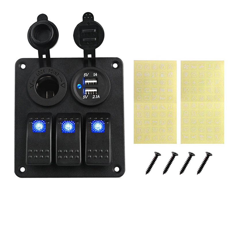 Image 3 - LED 3 Gang Rocker Switch Panel Power Socket 3.1A Dual USB Wiring Kits and Decal Sticker Labels DC12V 24V for Marine Boat Car-in Car Switches & Relays from Automobiles & Motorcycles