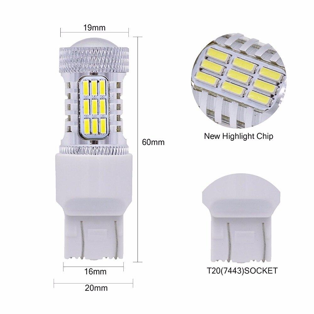 2pcs 6000K White Super Power 7443 T20 W21W/5W Backup Light Reverse Lamps 4014 45SMD Daytime Running Light DRL Parking Lights