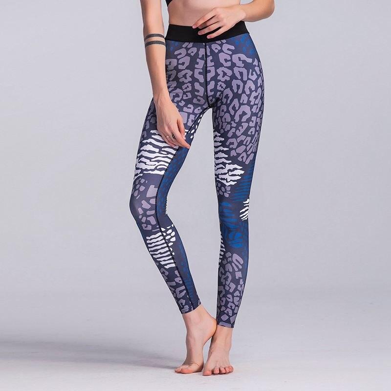 Women Sexy Leopard Printed High Waist Sport Slim Leggings Stretch Pants Jogging Fitness Sportwear Trousers(BLUE)