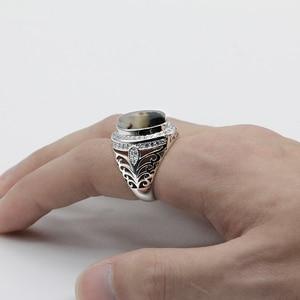 Image 4 - ผู้ชายแหวน 925 เงินสเตอร์ลิงรูปไข่ธรรมชาติหินCZ Hollow Vintage Punkแหวนนิ้วมือสำหรับชายแฟชั่นเครื่องประดับแหวนFine