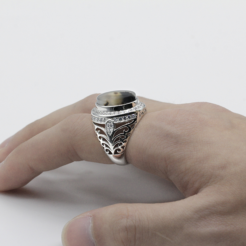 Men Ring 925 Sterling Silver Oval Nature Stone CZ Hollow Design Vintage Punk Finger Ring for Man Party Street Fashion Jewelry in Rings from Jewelry Accessories
