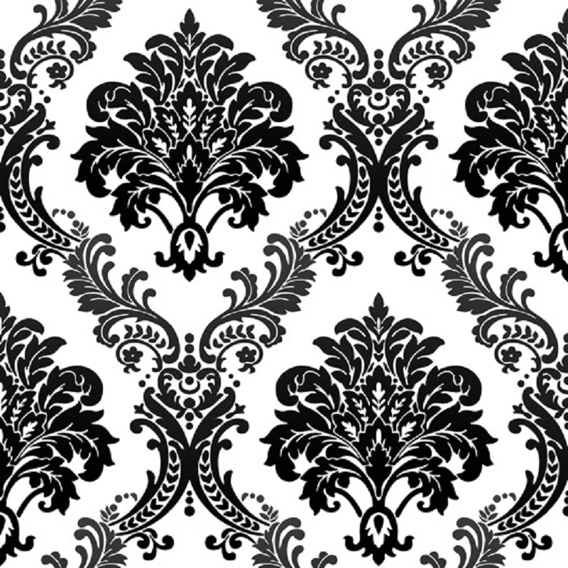 Living room wall decor stickers - 10m Vintage Luxury Black Damask On White Textured Embossed Flocking