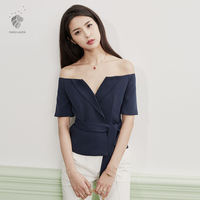 Lane Strapless Chiffon Shirt Collar Shirt Female Xia V Sexy All Match Self Cultivation Shirt