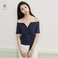 Classy Korean style blue/white short sleeve V collar elegant office official loose chiffon sling coat shirt